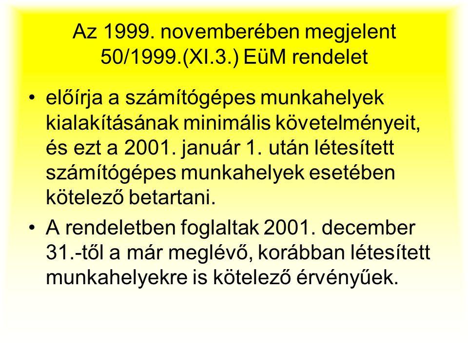 Az 1999. novemberében megjelent 50/1999.(XI.3.) EüM rendelet előírja a számítógépes munkahelyek kialakításának minimális követelményeit, és ezt a 2001