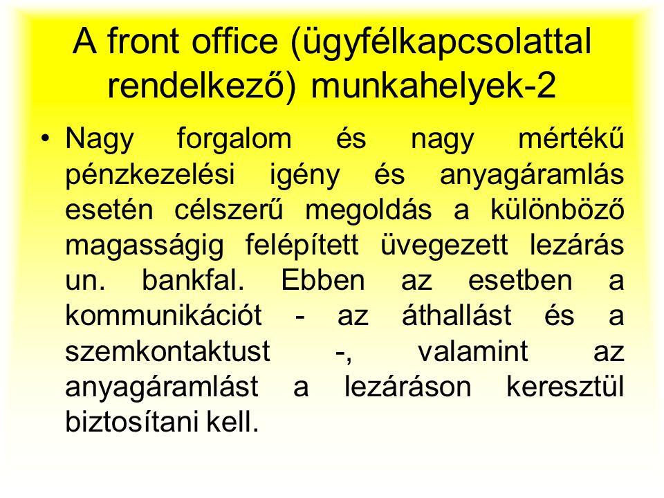 A front office (ügyfélkapcsolattal rendelkező) munkahelyek-2 Nagy forgalom és nagy mértékű pénzkezelési igény és anyagáramlás esetén célszerű megoldás