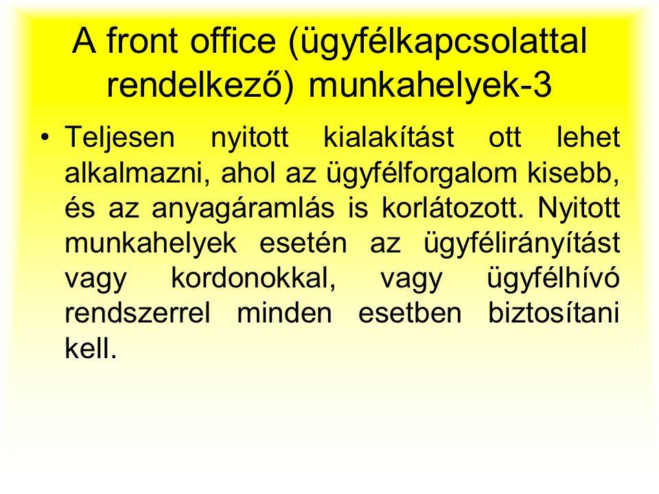 A front office (ügyfélkapcsolattal rendelkező) munkahelyek-3 Teljesen nyitott kialakítást ott lehet alkalmazni, ahol az ügyfélforgalom kisebb, és az a