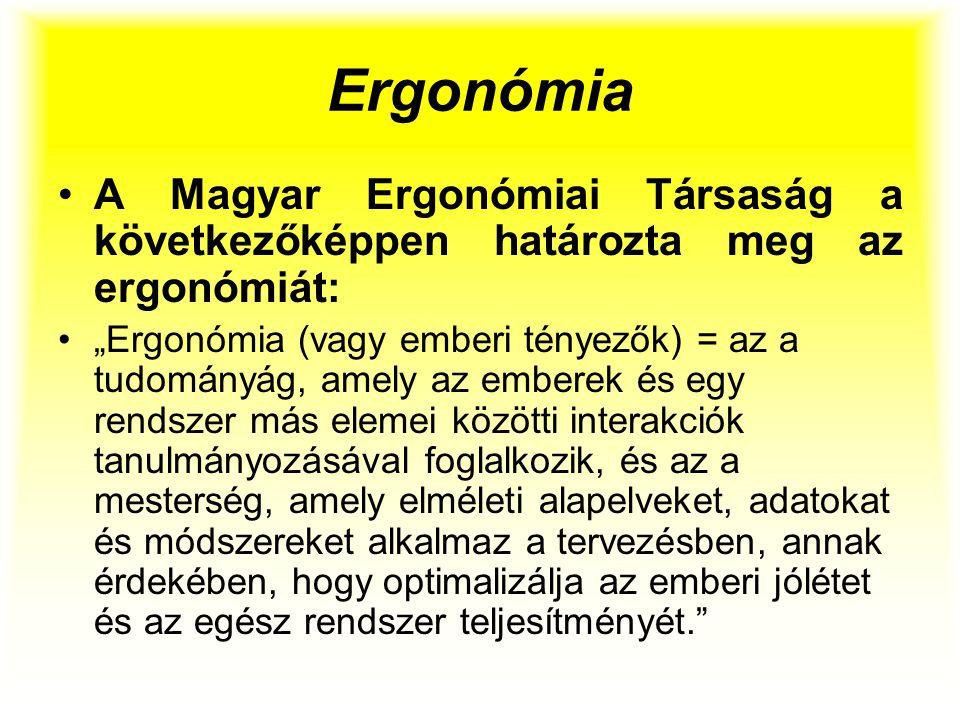 """Ergonómia A Magyar Ergonómiai Társaság a következőképpen határozta meg az ergonómiát: """"Ergonómia (vagy emberi tényezők) = az a tudományág, amely az em"""