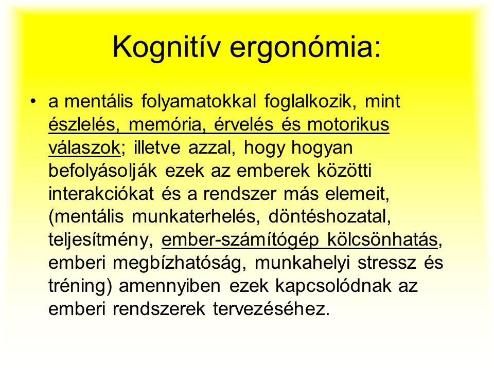 Kognitív ergonómia: a mentális folyamatokkal foglalkozik, mint észlelés, memória, érvelés és motorikus válaszok; illetve azzal, hogy hogyan befolyásol