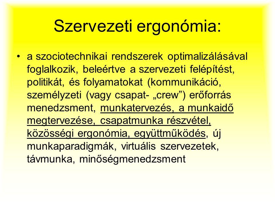 Szervezeti ergonómia: a szociotechnikai rendszerek optimalizálásával foglalkozik, beleértve a szervezeti felépítést, politikát, és folyamatokat (kommu