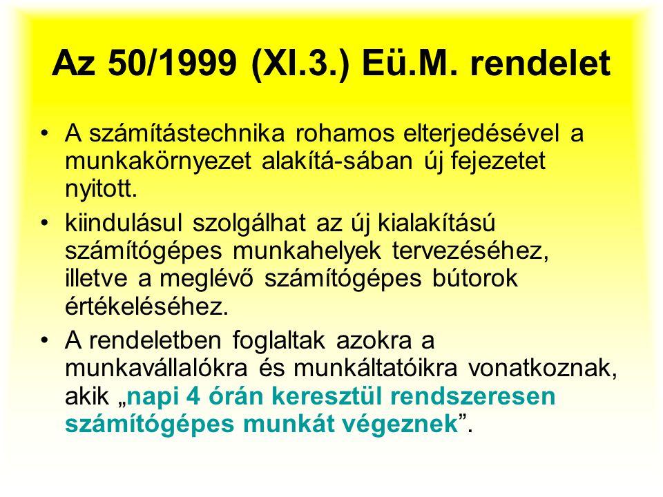 Az 50/1999 (XI.3.) Eü.M. rendelet A számítástechnika rohamos elterjedésével a munkakörnyezet alakítá-sában új fejezetet nyitott. kiindulásul szolgálha