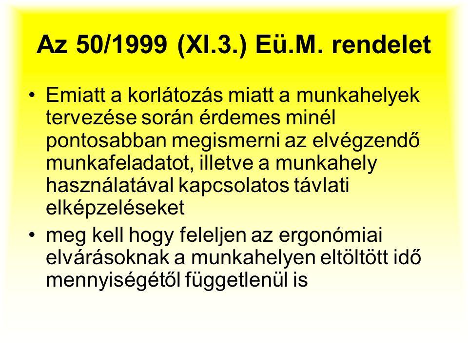 Az 50/1999 (XI.3.) Eü.M. rendelet Emiatt a korlátozás miatt a munkahelyek tervezése során érdemes minél pontosabban megismerni az elvégzendő munkafela
