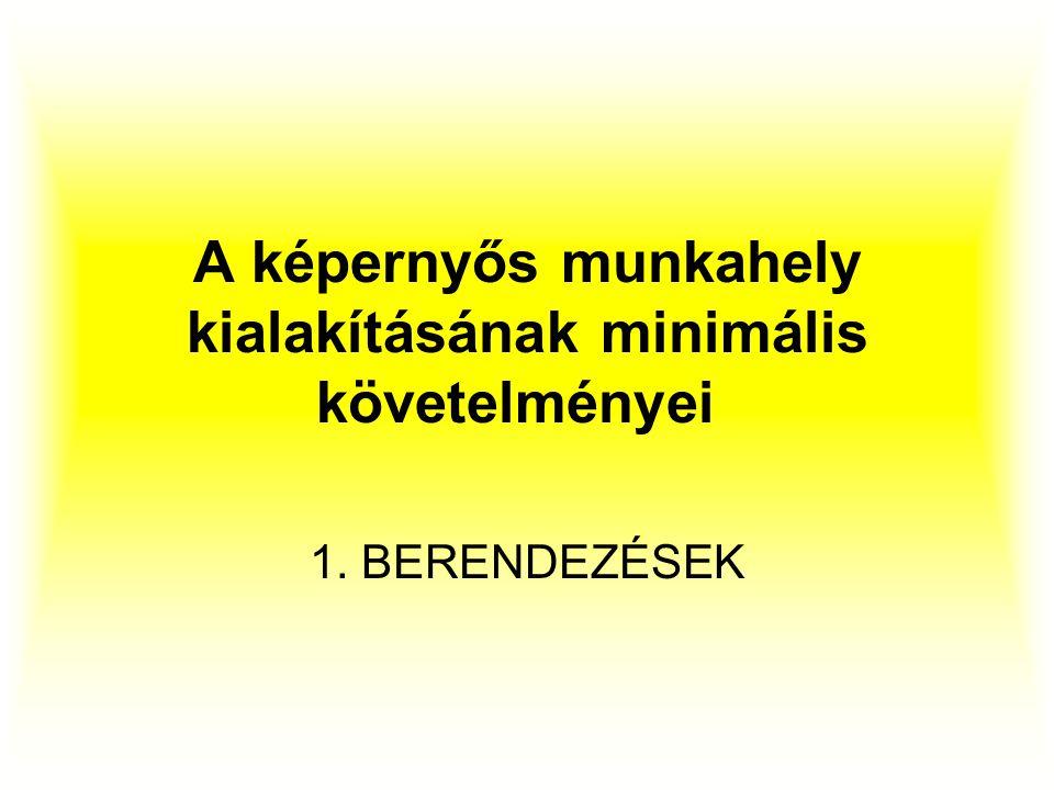 A képernyős munkahely kialakításának minimális követelményei 1. BERENDEZÉSEK