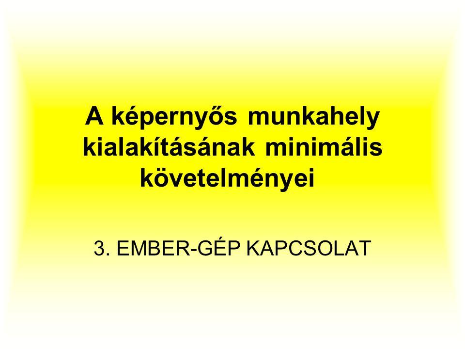 A képernyős munkahely kialakításának minimális követelményei 3. EMBER-GÉP KAPCSOLAT