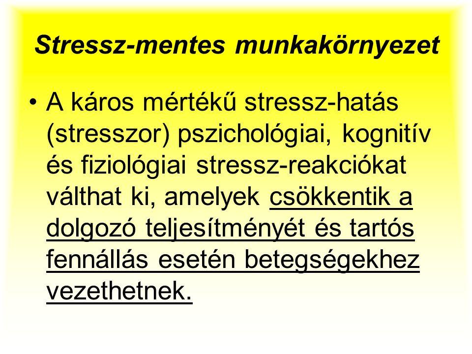 Stressz-mentes munkakörnyezet A káros mértékű stressz-hatás (stresszor) pszichológiai, kognitív és fiziológiai stressz-reakciókat válthat ki, amelyek