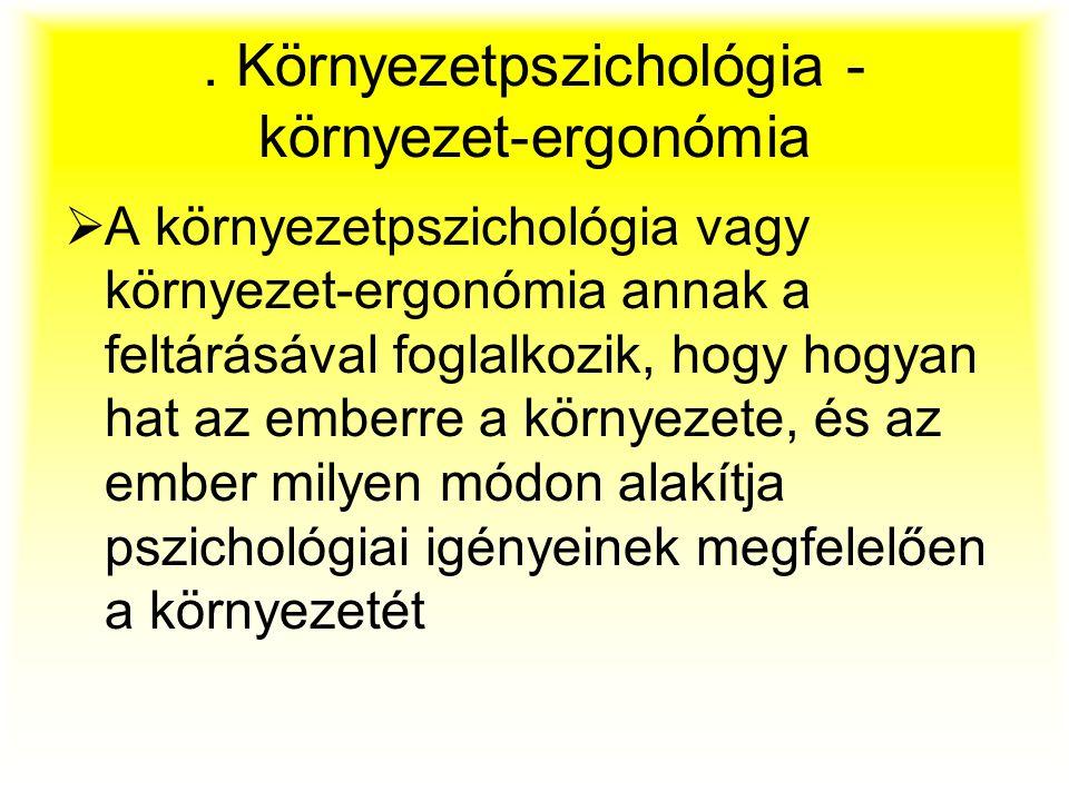 . Környezetpszichológia - környezet-ergonómia  A környezetpszichológia vagy környezet-ergonómia annak a feltárásával foglalkozik, hogy hogyan hat az