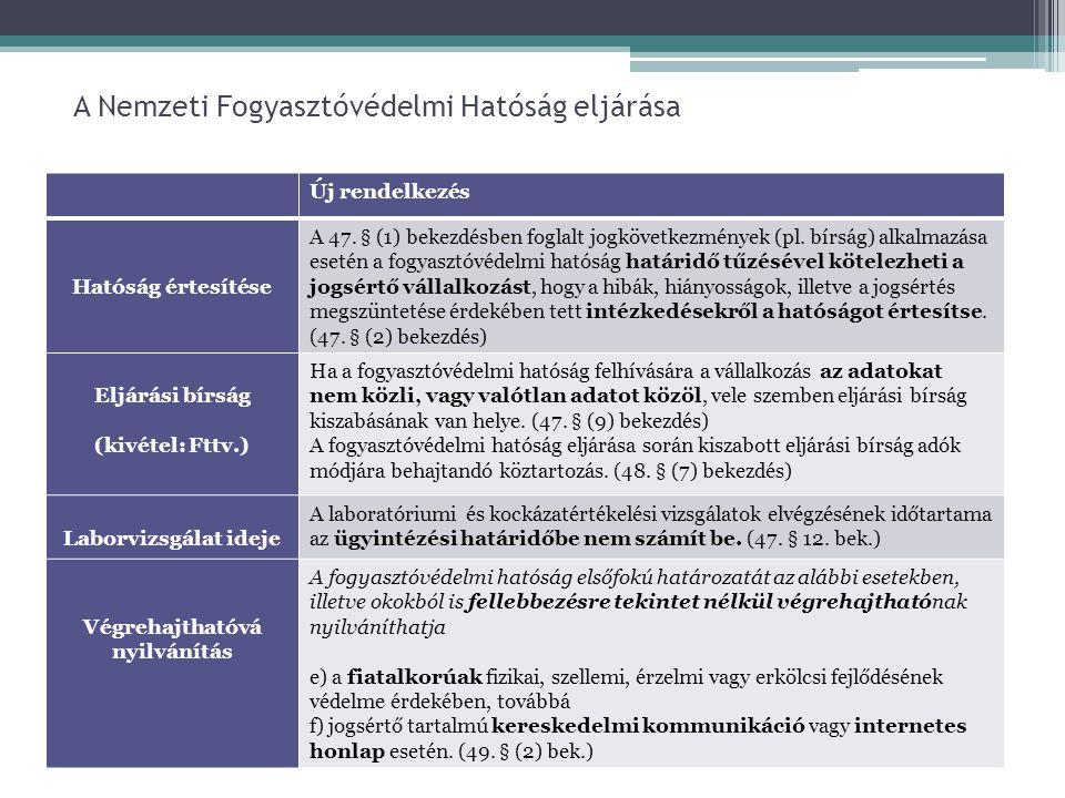 A Nemzeti Fogyasztóvédelmi Hatóság eljárása Új rendelkezés Hatóság értesítése A 47. § (1) bekezdésben foglalt jogkövetkezmények (pl. bírság) alkalmazá