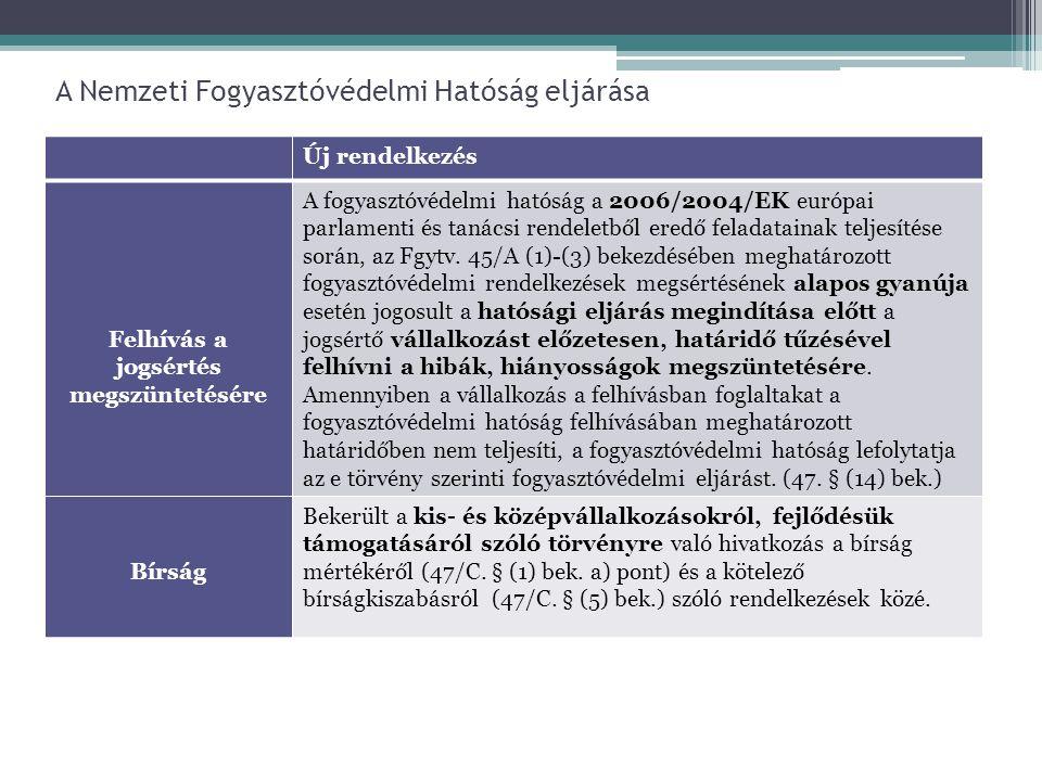 A Nemzeti Fogyasztóvédelmi Hatóság eljárása Új rendelkezés Felhívás a jogsértés megszüntetésére A fogyasztóvédelmi hatóság a 2006/2004/EK európai parl