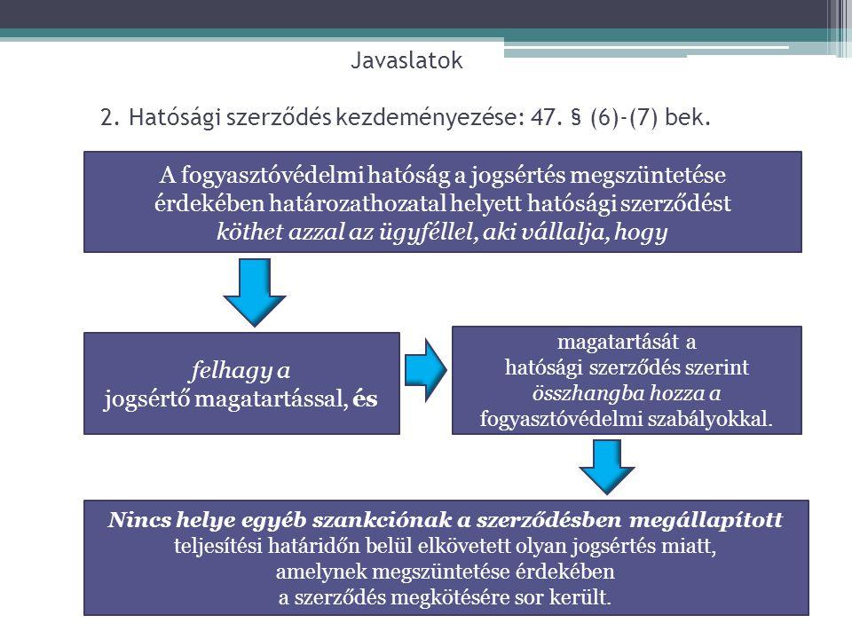 Javaslatok 2. Hatósági szerződés kezdeményezése: 47. § (6)-(7) bek. A fogyasztóvédelmi hatóság a jogsértés megszüntetése érdekében határozathozatal he