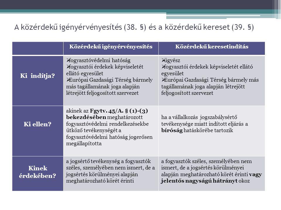 A közérdekű igényérvényesítés (38. §) és a közérdekű kereset (39. §) Közérdekű igényérvényesítésKözérdekű keresetindítás Ki indítja?  fogyasztóvédelm