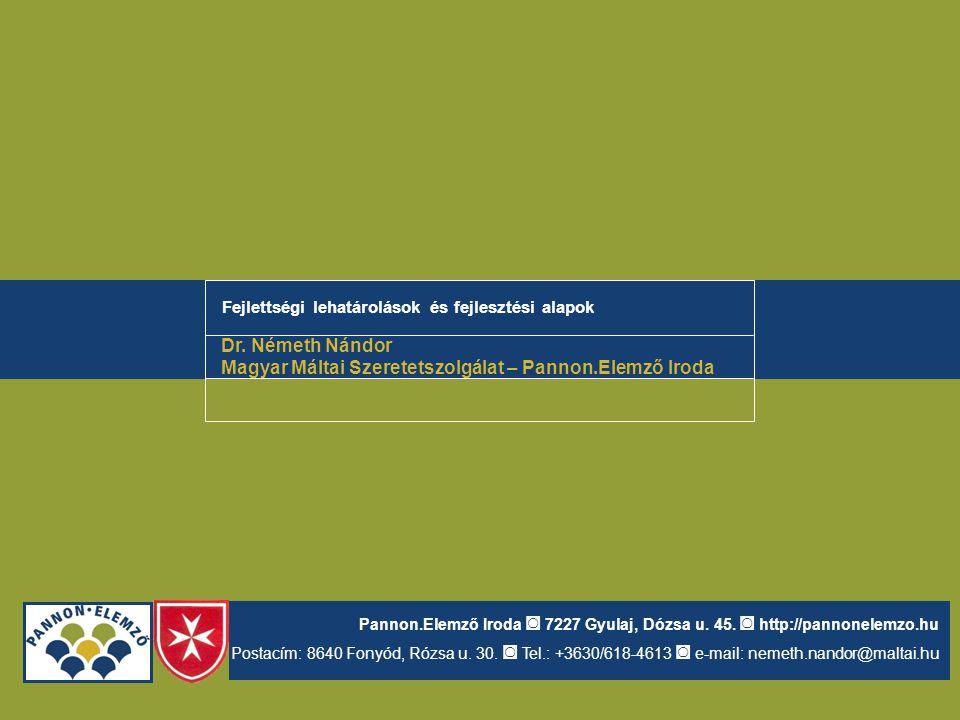 Fejlettségi lehatárolások és fejlesztési alapok Dr. Németh Nándor Magyar Máltai Szeretetszolgálat – Pannon.Elemző Iroda Pannon.Elemző Iroda ◙ 7227 Gyu