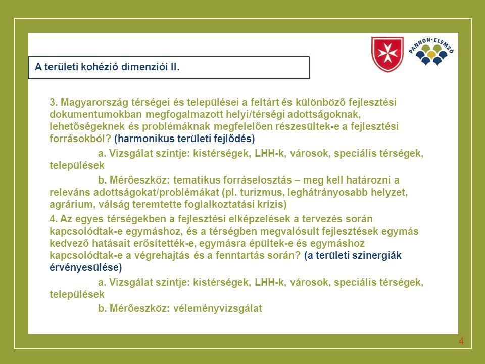 Click to edit Master title style A területi kohézió dimenziói II. 3. Magyarország térségei és települései a feltárt és különböző fejlesztési dokumentu