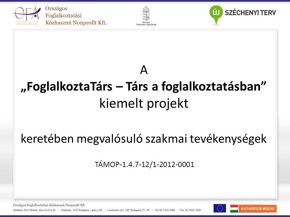 """A """"FoglalkoztaTárs – Társ a foglalkoztatásban kiemelt projekt keretében megvalósuló szakmai tevékenységek TÁMOP-1.4.7-12/1-2012-0001"""