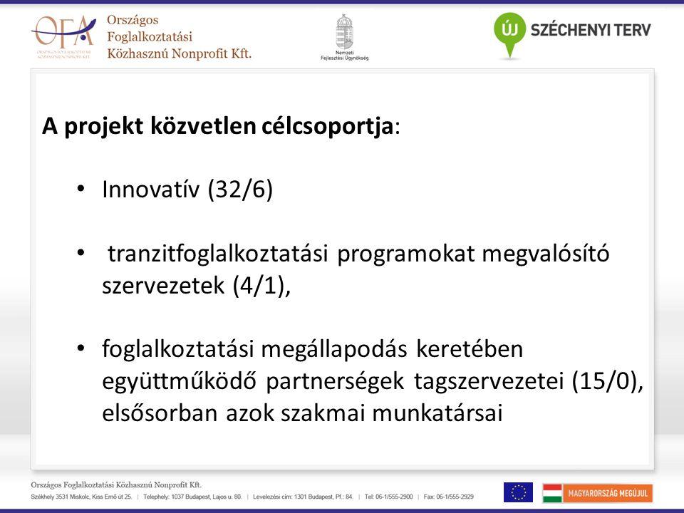 A projekt közvetlen célcsoportja: Innovatív (32/6) tranzitfoglalkoztatási programokat megvalósító szervezetek (4/1), foglalkoztatási megállapodás keretében együttműködő partnerségek tagszervezetei (15/0), elsősorban azok szakmai munkatársai