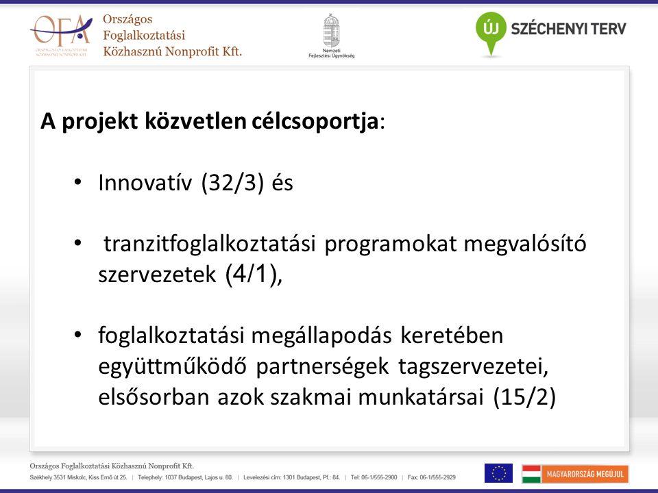 A projekt közvetlen célcsoportja: Innovatív (32/3) és tranzitfoglalkoztatási programokat megvalósító szervezetek (4/1), foglalkoztatási megállapodás k
