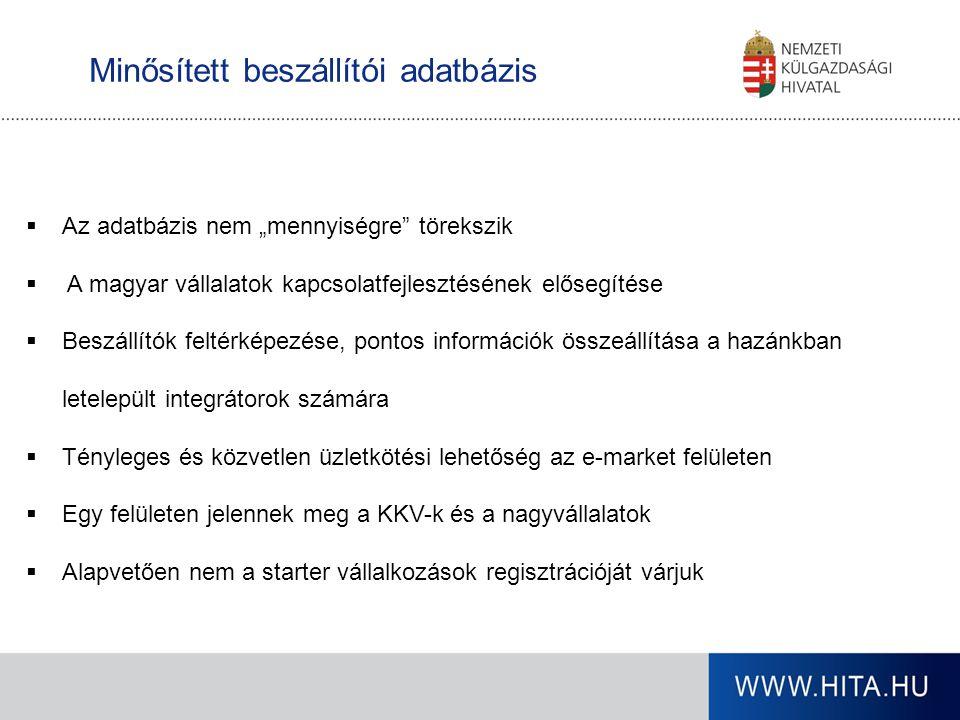 """Minősített beszállítói adatbázis  Az adatbázis nem """"mennyiségre"""" törekszik  A magyar vállalatok kapcsolatfejlesztésének elősegítése  Beszállítók fe"""