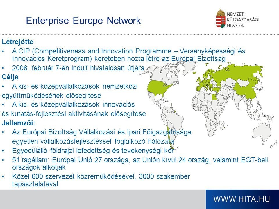 Enterprise Europe Network Létrejötte A CIP (Competitiveness and Innovation Programme – Versenyképességi és Innovációs Keretprogram) keretében hozta lé