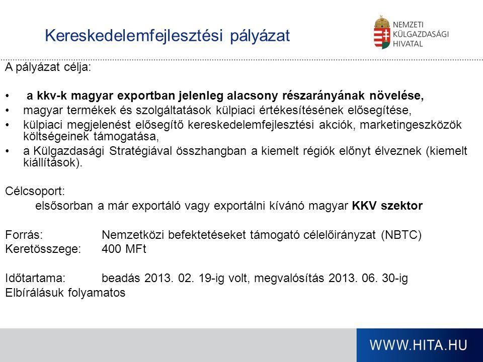 Kereskedelemfejlesztési pályázat A pályázat célja: a kkv-k magyar exportban jelenleg alacsony részarányának növelése, magyar termékek és szolgáltatáso