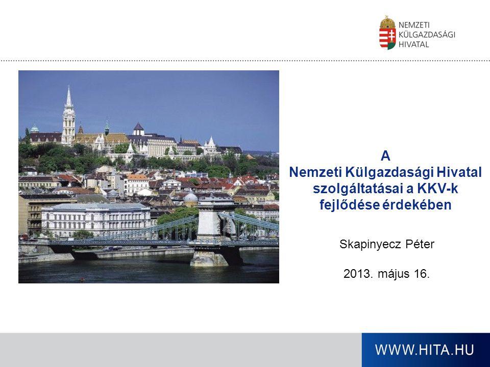 Üzletfejlesztés - céljaink Kereskedelemfejlesztés eszközeivel Duális szerkezet megszűntetése, a magyar munkahelyek megőrzése A magyar kkv-szektor részesedése az exporton belül a jelenlegi 18 százalékos arányról belátható időn belül 20 százalék fölé emelkedjen Magyar kkv-szektor export részesedésének növelése Adatbázisok kialakítása Potenciális hazai exportképes cégek feltérképezése A magyar kis- és középvállalkozások külgazdasági tevékenységének támogatása, nemzetköziesedésének elősegítése, exportfejlesztés; Innovatív, minőségi termékeik külpiacra jutása Hazai kkv-k exportpiacának bővítése Piacfejlesztés, képzés, regionális együttműködés Beszállítói hálózat fejlesztése Eddig közel 100 megállapodást kötöttünk Szakmai szervezetekkel, szövetségekkel együttműködés Magyarországon és külföldön