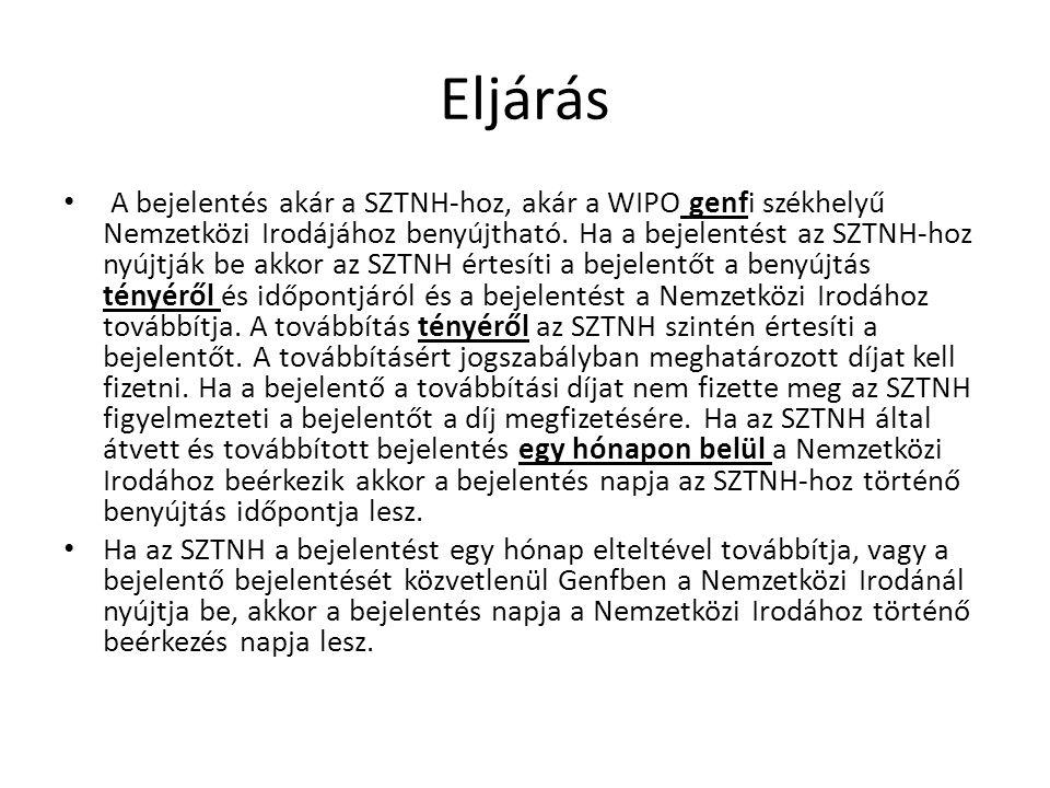 Eljárás A bejelentés akár a SZTNH-hoz, akár a WIPO genfi székhelyű Nemzetközi Irodájához benyújtható.