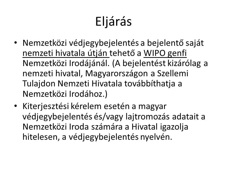 Eljárás Nemzetközi védjegybejelentés a bejelentő saját nemzeti hivatala útján tehető a WIPO genfi Nemzetközi Irodájánál.
