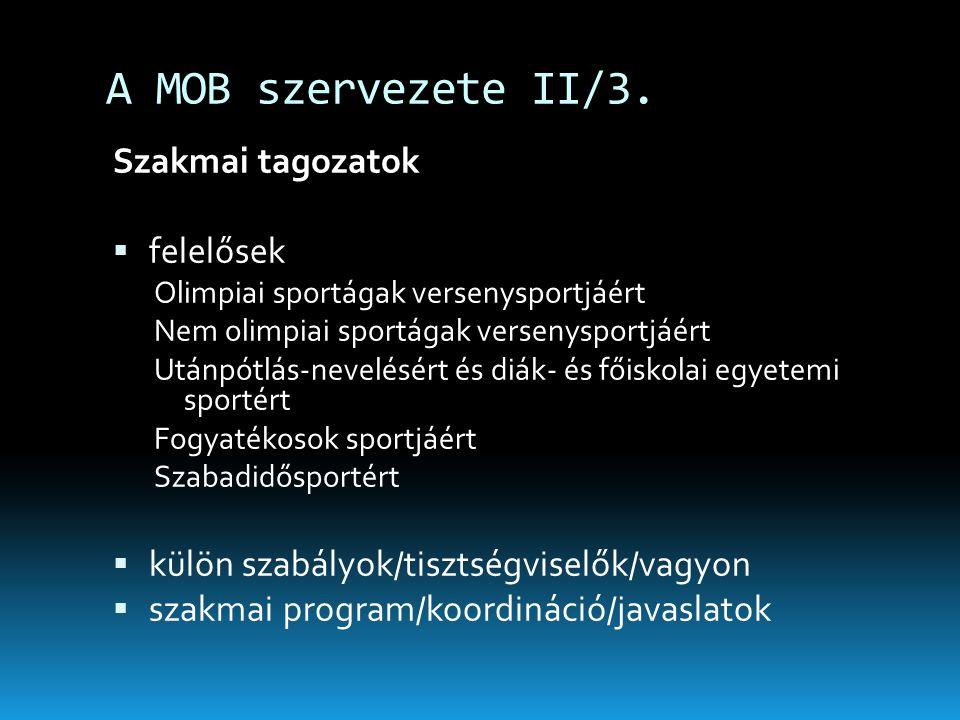 A MOB szervezete II/3. Szakmai tagozatok  felelősek Olimpiai sportágak versenysportjáért Nem olimpiai sportágak versenysportjáért Utánpótlás-nevelésé