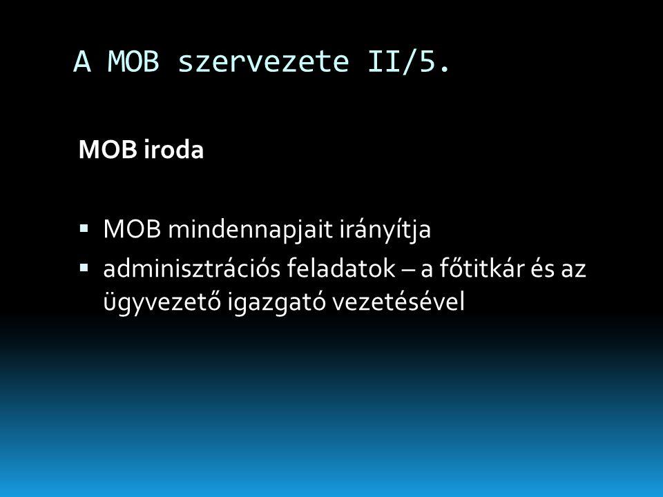 A MOB szervezete II/5. MOB iroda  MOB mindennapjait irányítja  adminisztrációs feladatok – a főtitkár és az ügyvezető igazgató vezetésével