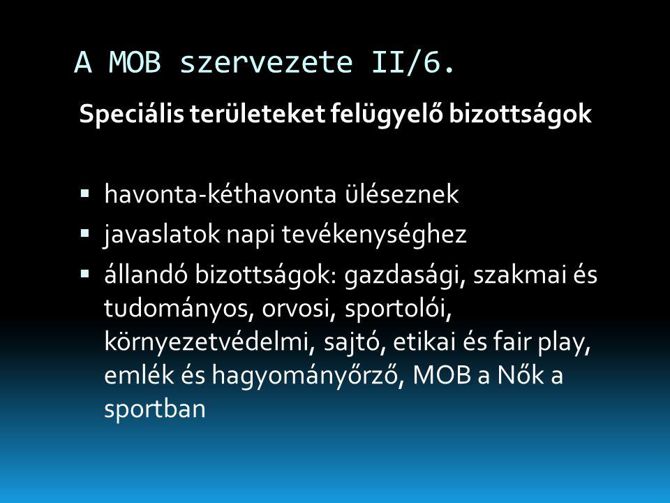 A MOB szervezete II/6. Speciális területeket felügyelő bizottságok  havonta-kéthavonta üléseznek  javaslatok napi tevékenységhez  állandó bizottság