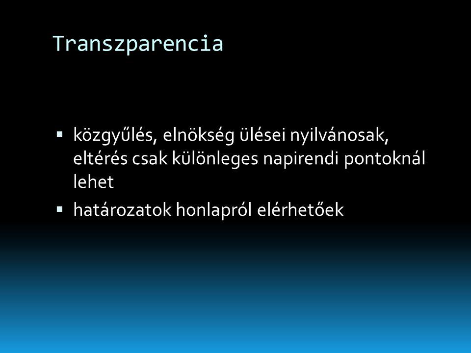 Transzparencia  közgyűlés, elnökség ülései nyilvánosak, eltérés csak különleges napirendi pontoknál lehet  határozatok honlapról elérhetőek