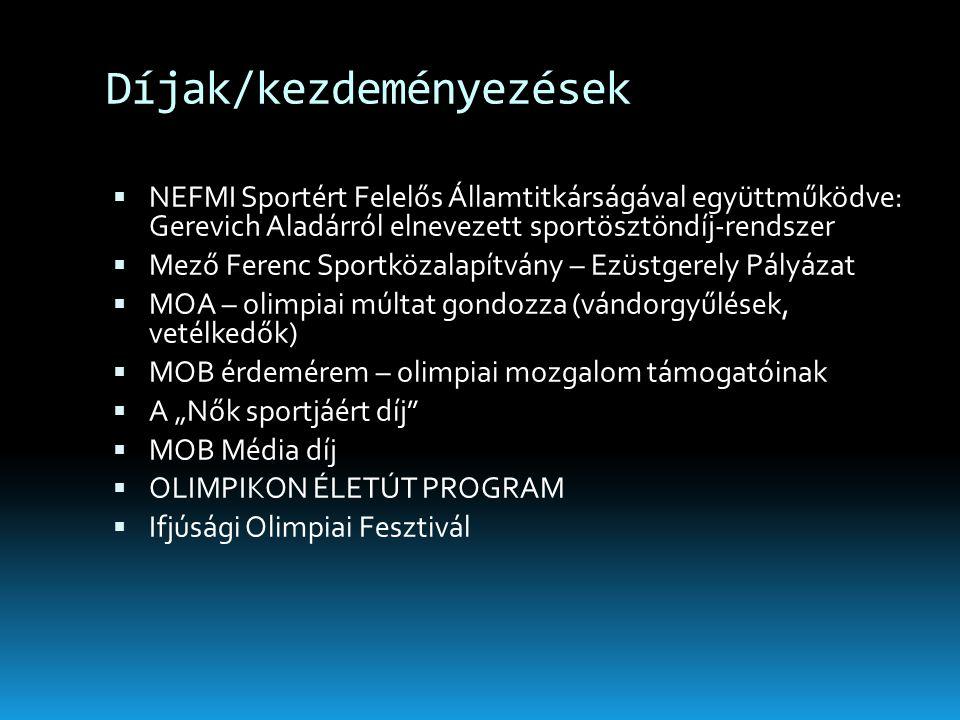 Díjak/kezdeményezések  NEFMI Sportért Felelős Államtitkárságával együttműködve: Gerevich Aladárról elnevezett sportösztöndíj-rendszer  Mező Ferenc S