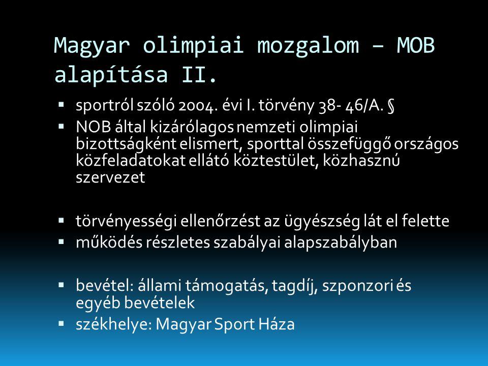 Magyar olimpiai mozgalom – MOB alapítása II.  sportról szóló 2004. évi I. törvény 38- 46/A. §  NOB által kizárólagos nemzeti olimpiai bizottságként