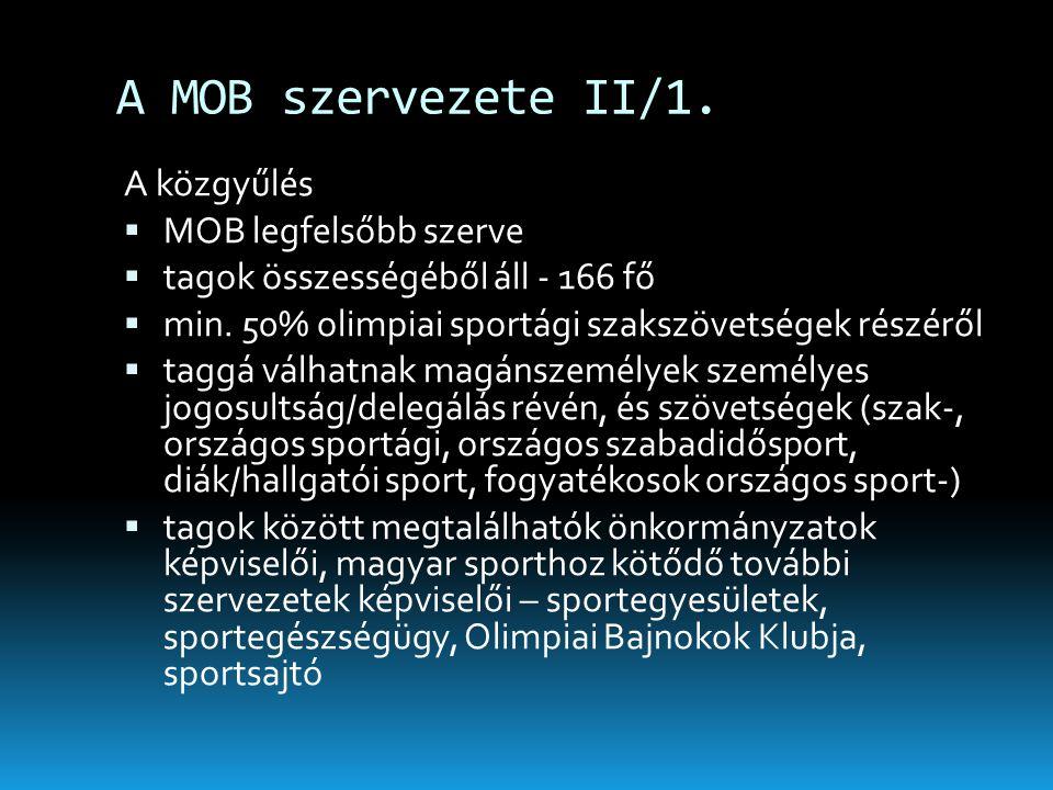 A MOB szervezete II/1. A közgyűlés  MOB legfelsőbb szerve  tagok összességéből áll - 166 fő  min. 50% olimpiai sportági szakszövetségek részéről 