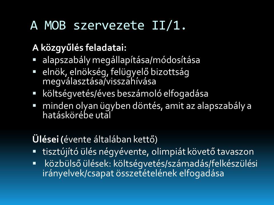 A MOB szervezete II/1. A közgyűlés feladatai:  alapszabály megállapítása/módosítása  elnök, elnökség, felügyelő bizottság megválasztása/visszahívása