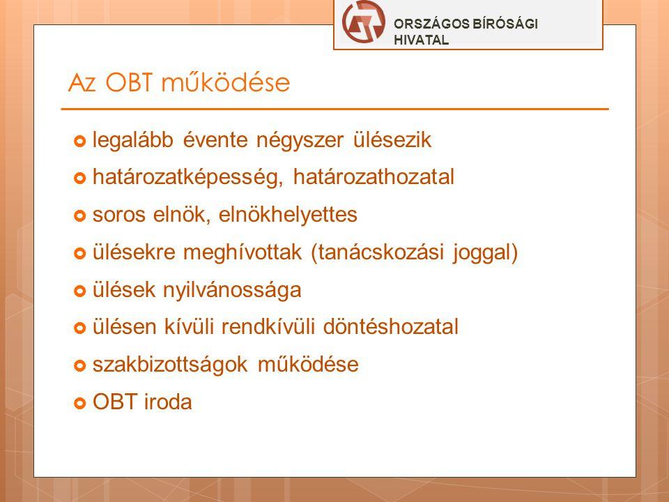 Az OBT működése  legalább évente négyszer ülésezik  határozatképesség, határozathozatal  soros elnök, elnökhelyettes  ülésekre meghívottak (tanács