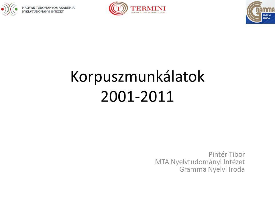 Korpuszmunkálatok 2001-2011 Pintér Tibor MTA Nyelvtudományi Intézet Gramma Nyelvi Iroda