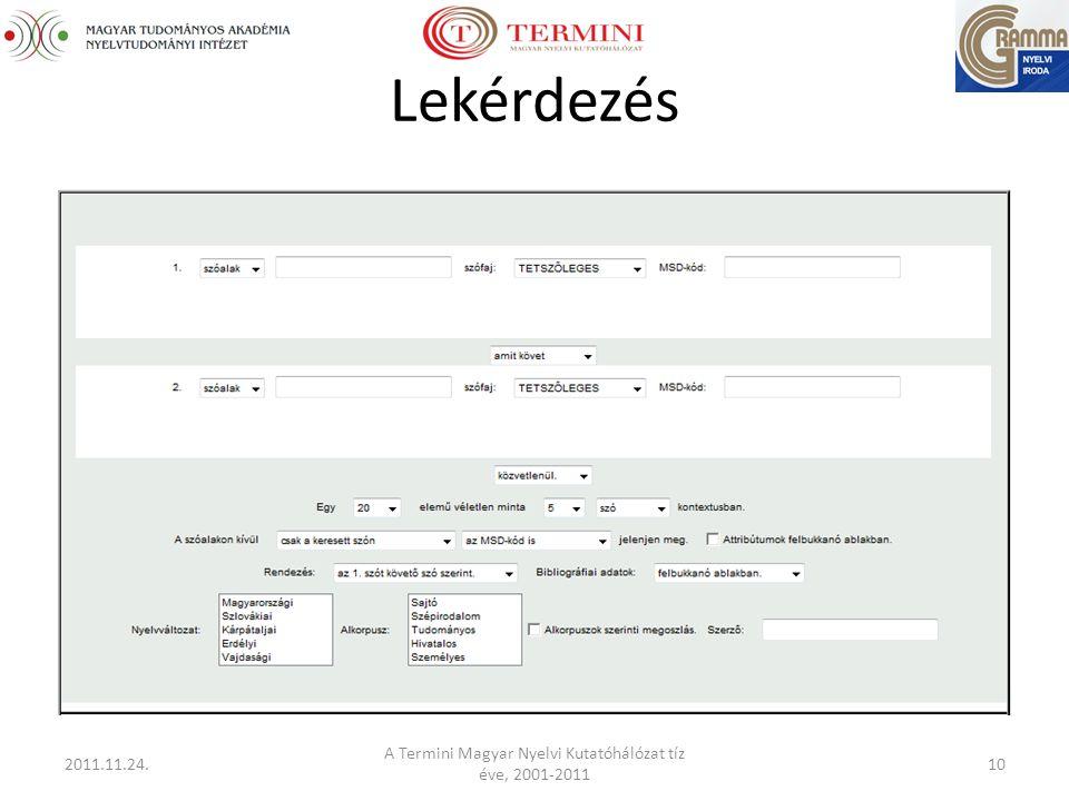 Lekérdezés 2011.11.24. A Termini Magyar Nyelvi Kutatóhálózat tíz éve, 2001-2011 10