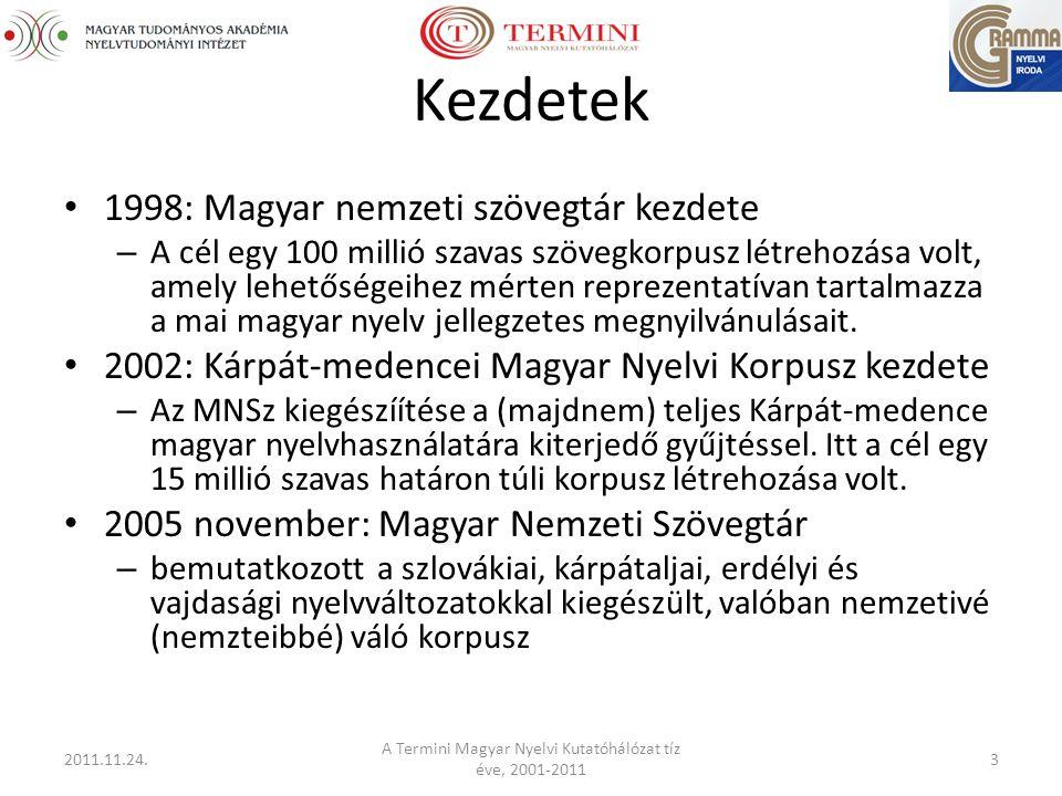 Kezdetek 1998: Magyar nemzeti szövegtár kezdete – A cél egy 100 millió szavas szövegkorpusz létrehozása volt, amely lehetőségeihez mérten reprezentatívan tartalmazza a mai magyar nyelv jellegzetes megnyilvánulásait.