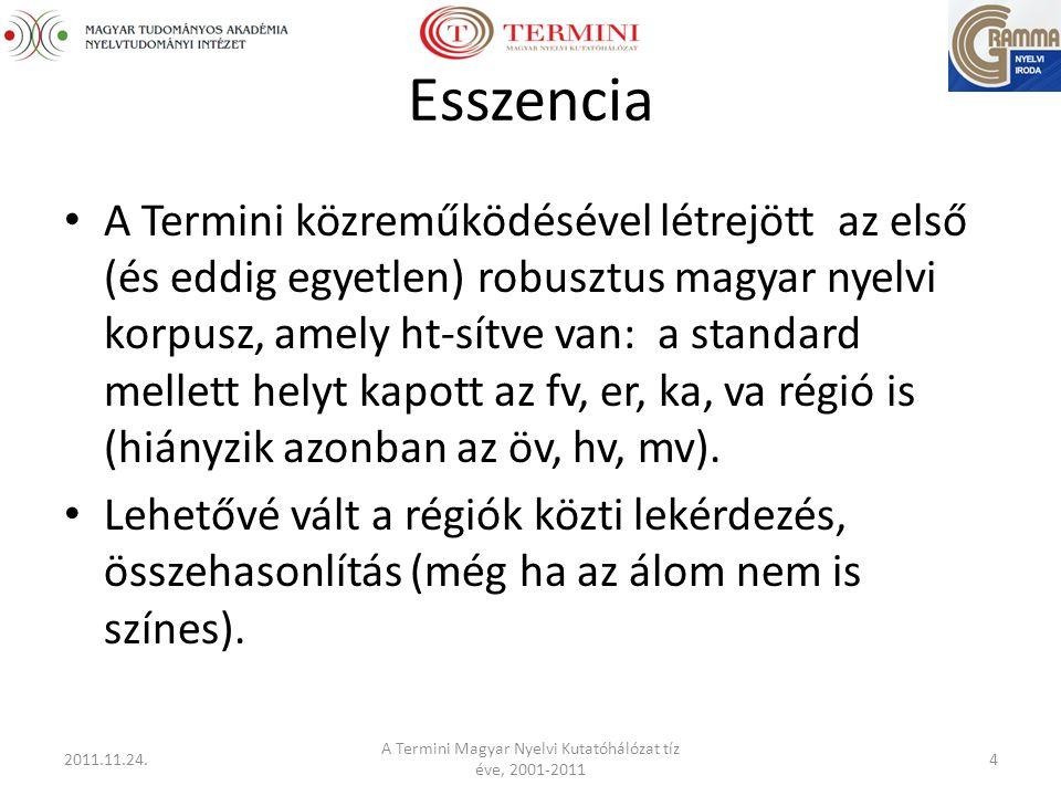 Esszencia A Termini közreműködésével létrejött az első (és eddig egyetlen) robusztus magyar nyelvi korpusz, amely ht-sítve van: a standard mellett helyt kapott az fv, er, ka, va régió is (hiányzik azonban az öv, hv, mv).