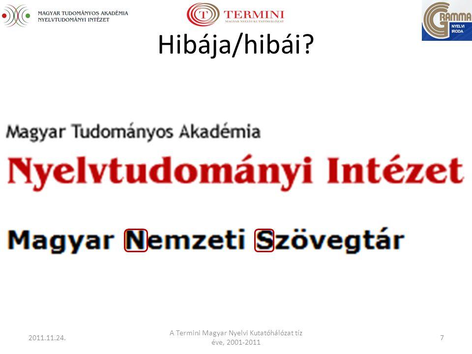 Hibája/hibái 2011.11.24. A Termini Magyar Nyelvi Kutatóhálózat tíz éve, 2001-2011 7