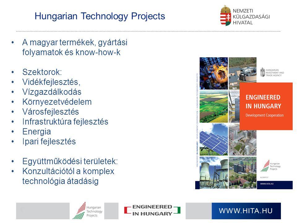 Hungarian Technology Projects A magyar termékek, gyártási folyamatok és know-how-k Szektorok: Vidékfejlesztés, Vízgazdálkodás Környezetvédelem Városfe