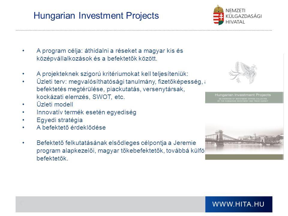 Hungarian Investment Projects A program célja: áthidalni a réseket a magyar kis és középvállalkozások és a befektetők között. A projekteknek szigorú k