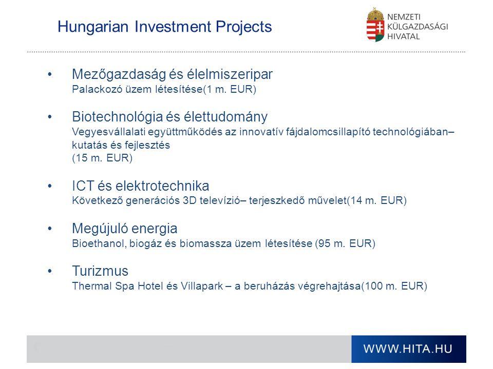 Hungarian Investment Projects Mezőgazdaság és élelmiszeripar Palackozó üzem létesítése(1 m. EUR) Biotechnológia és élettudomány Vegyesvállalati együtt