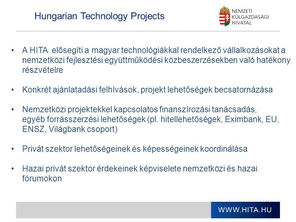 Hungarian Technology Projects A HITA elősegíti a magyar technológiákkal rendelkező vállalkozásokat a nemzetközi fejlesztési együttműködési közbeszerzé