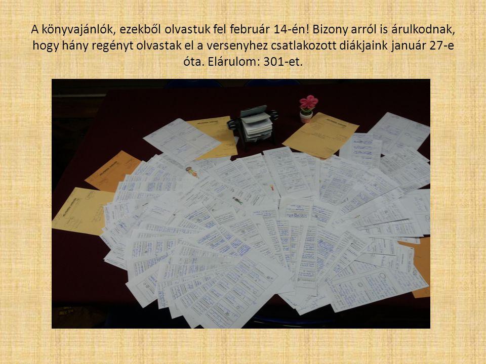 A könyvajánlók, ezekből olvastuk fel február 14-én.