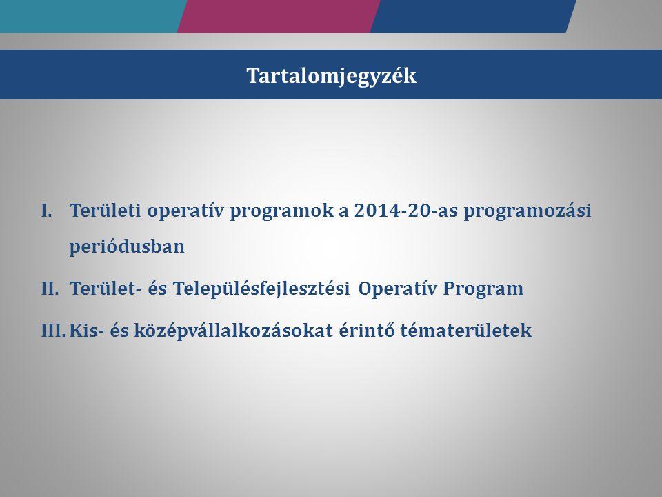 Tartalomjegyzék I.Területi operatív programok a 2014-20-as programozási periódusban II.Terület- és Településfejlesztési Operatív Program III.Kis- és k