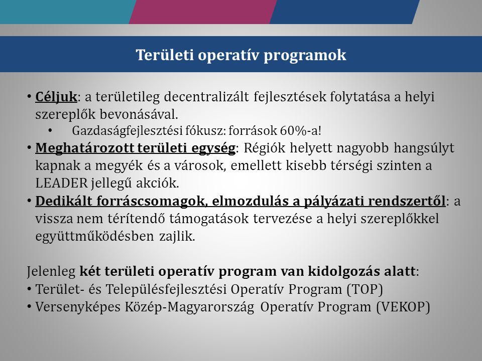 Operatív Program Az OP aránya a teljes támogatáshoz képest Területfejlesztési Operatív Program (TOP)16,15 % Gazdaságfejlesztési és Innovációs Operatív Program (GINOP)39,40 % Versenyképes Közép-Magyarország Operatív Program (VEKOP)3,55 % Emberi Erőforrás Fejlesztési Operatív Program (EFOP)10,94 % Környezeti és Energetikai Hatékonysági Operatív Program (KEHOP)14,77 % Integrált Közlekedésfejlesztési Operatív Program (IKOP)13,69 % Koordinációs Operatív Program (KOP)1,50 % Vidékfejlesztési Operatív Program (VOP) * Magyar Halgazdálkodási Operatív Program (MAHOP) * Összesen100 % Megjegyzés: A táblázatban szereplő allokációs arányok az Európai Regionális Fejlesztési Alap (ERFA), az Európai Szociális Alap (ESZA) és a Kohéziós Alap (KA) által társfinanszírozott operatív programokra együttesen rendelkezésre álló forráshoz viszonyítva értendők.