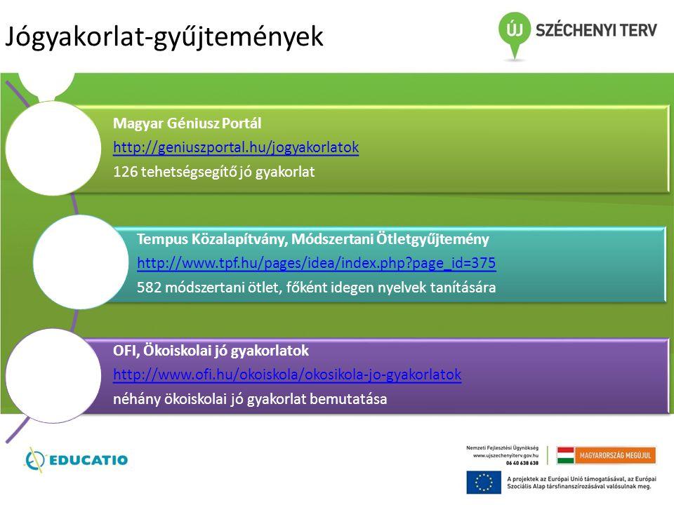 Jógyakorlat-gyűjtemények Magyar Géniusz Portál http://geniuszportal.hu/jogyakorlatok 126 tehetségsegítő jó gyakorlat Tempus Közalapítvány, Módszertani