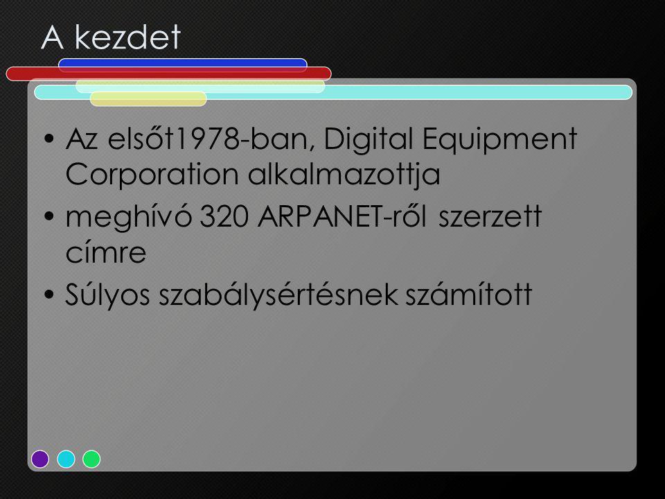 A kezdet Az elsőt1978-ban, Digital Equipment Corporation alkalmazottja meghívó 320 ARPANET-ről szerzett címre Súlyos szabálysértésnek számított